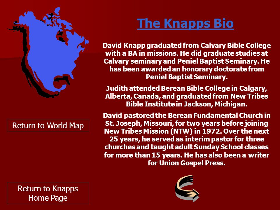 David Knapp graduated from Calvary Bible College with a BA in missions.