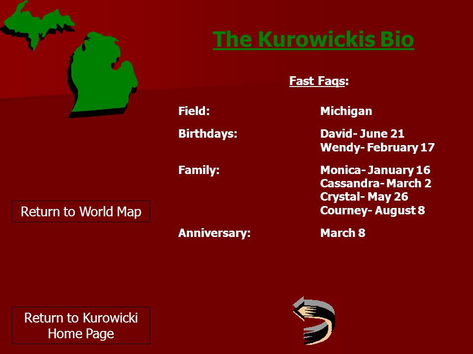 The Kurowickis Bio Return to World Map Fast Faqs: Field:Michigan Birthdays: David- June 21 Wendy- February 17 Family:Monica- January 16 Cassandra- March 2 Crystal- May 26 Courney- August 8 Anniversary:March 8 Return to Kurowicki Home Page