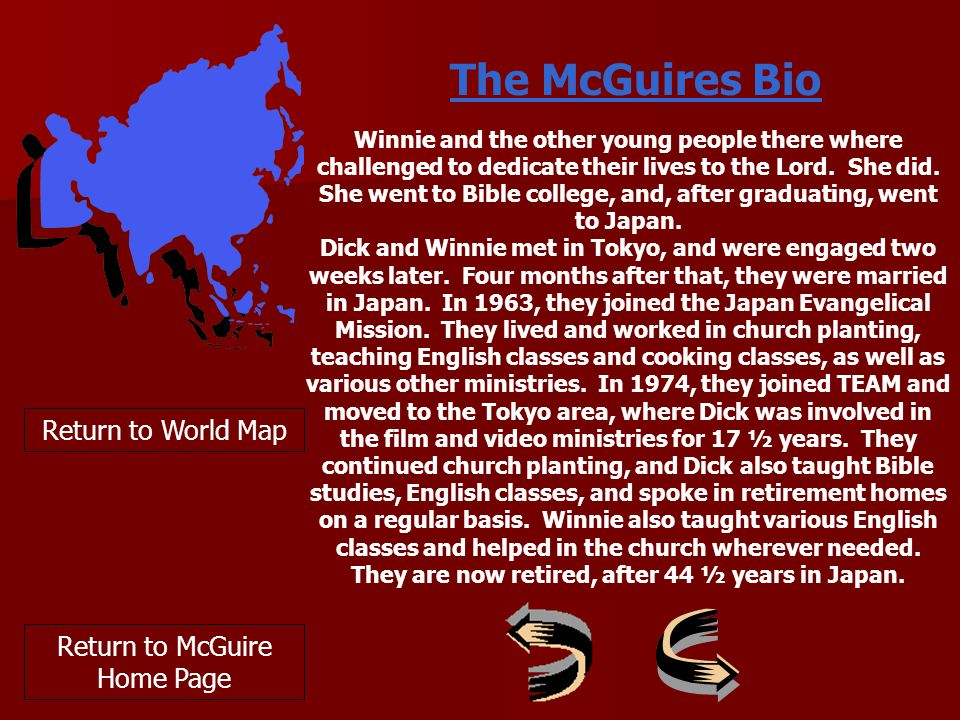 Return to World Map The McGuires Bio Winnie and the other young people there where challenged to dedicate their lives to the Lord.