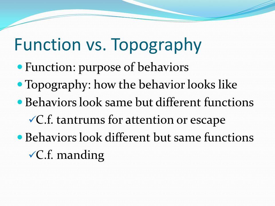 Function vs. Topography Function: purpose of behaviors Topography: how the behavior looks like Behaviors look same but different functions C.f. tantru