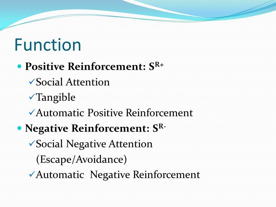 Function Positive Reinforcement: S R+ Social Attention Tangible Automatic Positive Reinforcement Negative Reinforcement: S R- Social Negative Attentio
