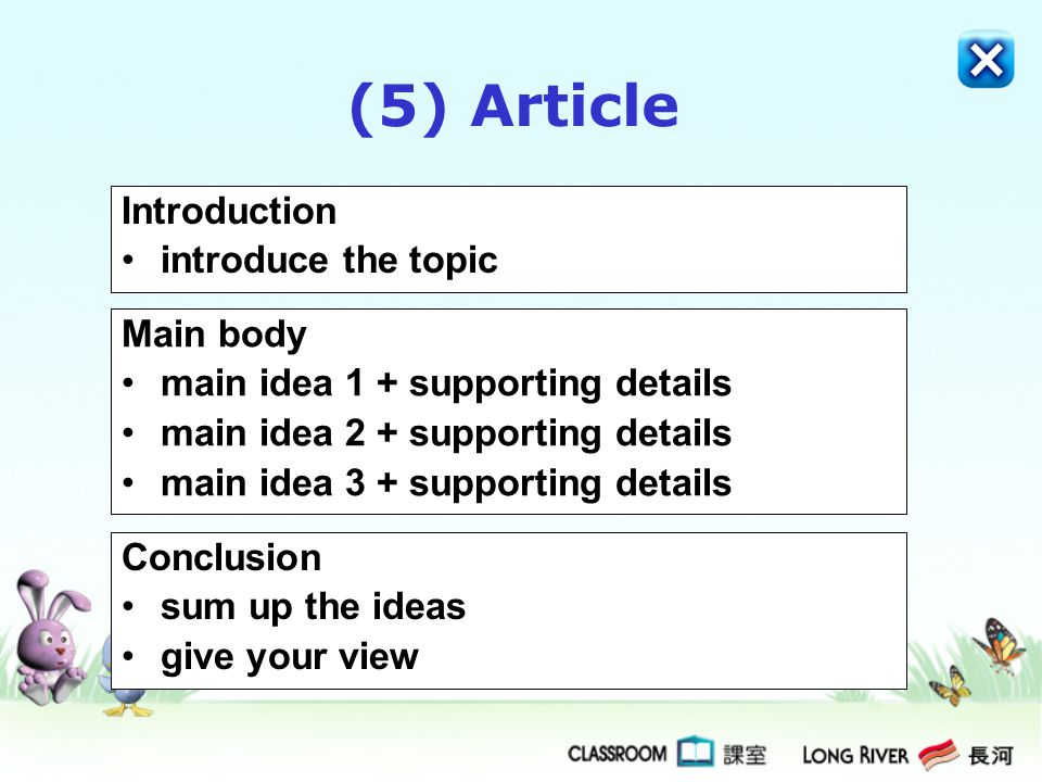 (5) Article Introduction introduce the topic Main body main idea 1 + supporting details main idea 2 + supporting details main idea 3 + supporting details Conclusion sum up the ideas give your view