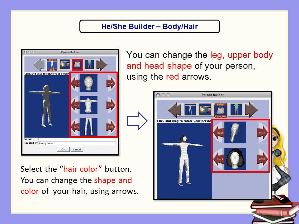 """You can change the leg, upper body and head shape of your person, using the red arrows. He/She Builder – Body/Hair Select the """"hair color"""" button. You"""