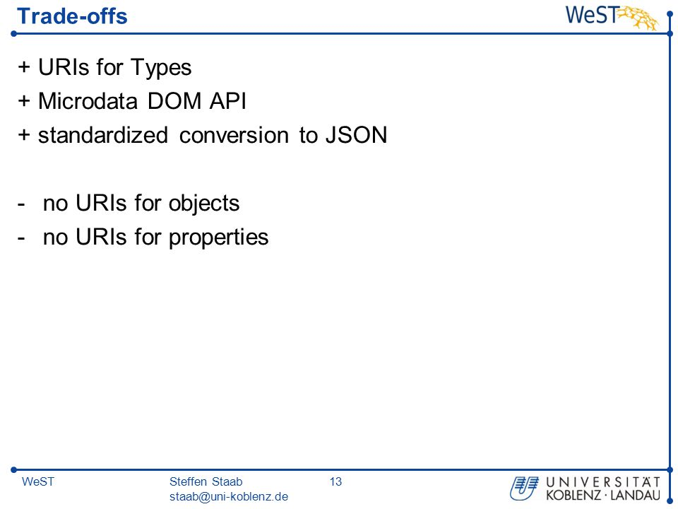 Steffen Staab staab@uni-koblenz.de 13WeST Trade-offs + URIs for Types + Microdata DOM API + standardized conversion to JSON -no URIs for objects -no U