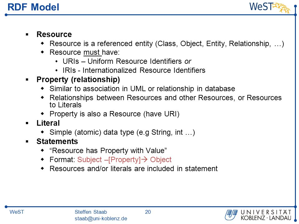 Steffen Staab staab@uni-koblenz.de 20WeST RDF Model  Resource  Resource is a referenced entity (Class, Object, Entity, Relationship, …)  Resource must have: URIs – Uniform Resource Identifiers or IRIs - Internationalized Resource Identifiers  Property (relationship)  Similar to association in UML or relationship in database  Relationships between Resources and other Resources, or Resources to Literals  Property is also a Resource (have URI)  Literal  Simple (atomic) data type (e.g String, int …)  Statements  Resource has Property with Value  Format: Subject –[Property]  Object  Resources and/or literals are included in statement