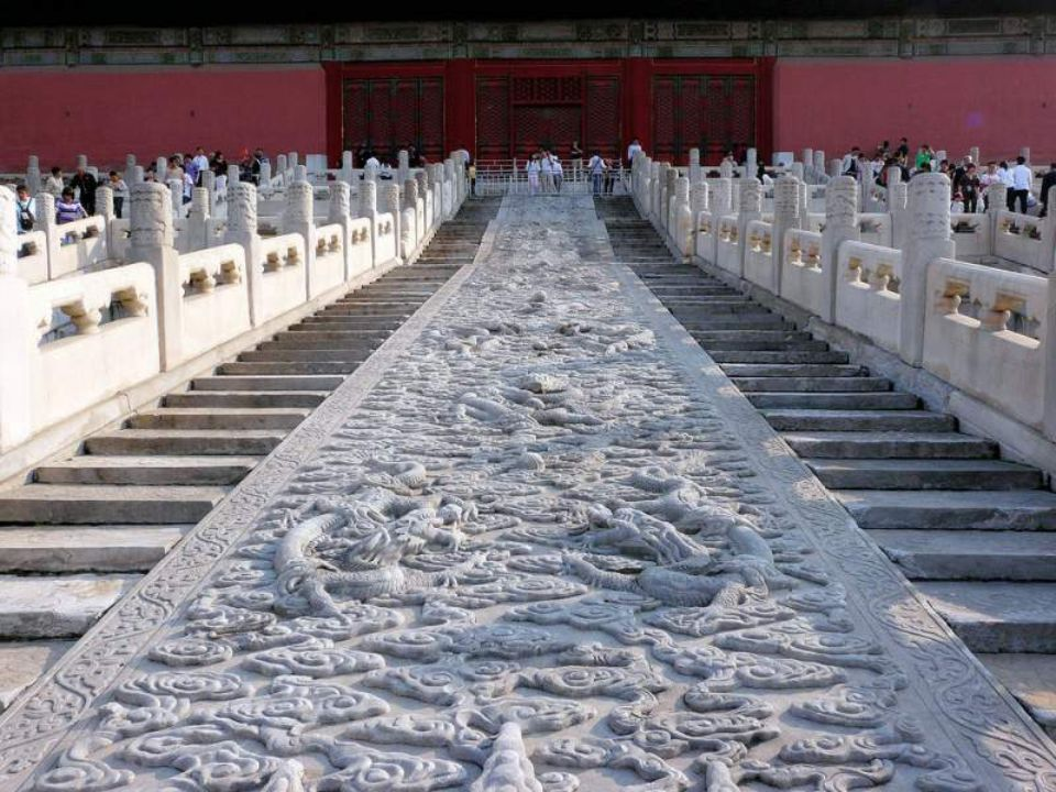 This large ramp (used only by Emperor) was carved from a single stone, weighing over 200 tons and transported to the Forbidden City from a mountain ov
