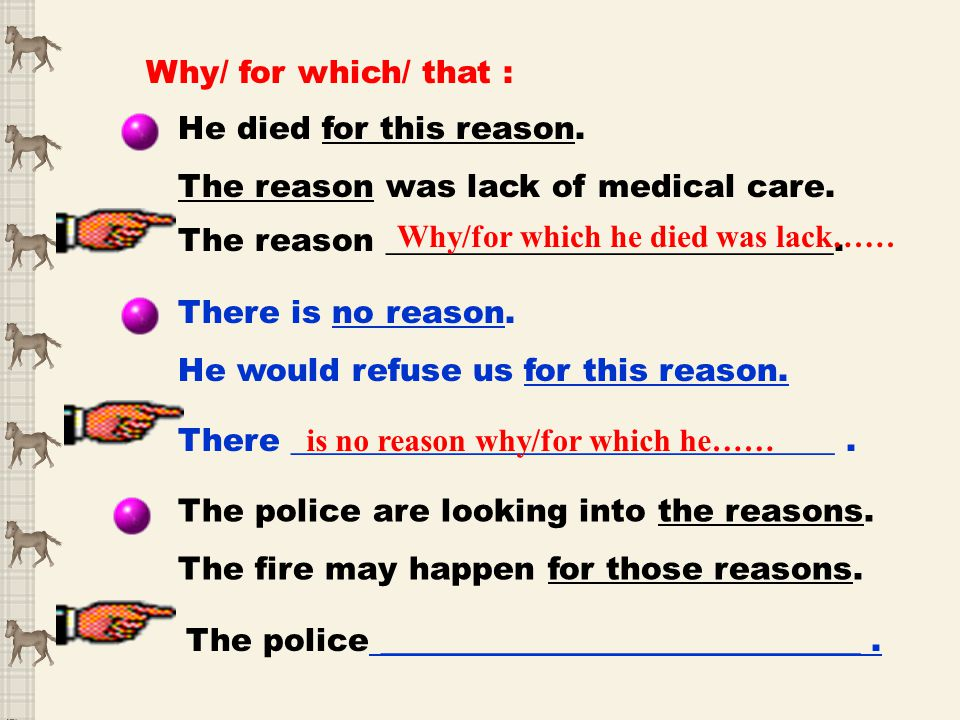 Why/ for which/ that : He died for this reason. The reason was lack of medical care. The reason ____________________________. There is no reason. He w