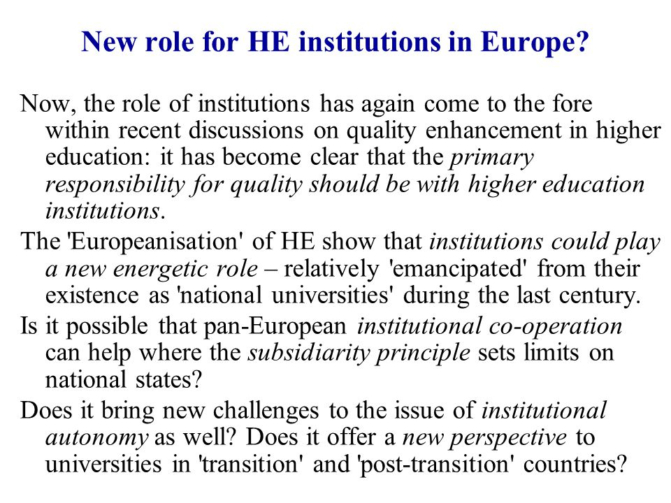 New role for HE institutions in Europe.