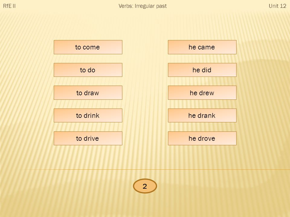 he … RfE IIUnit 12Verbs: Irregular past to come to do to draw to drink to drive he came he did he drew he drank he drove 2