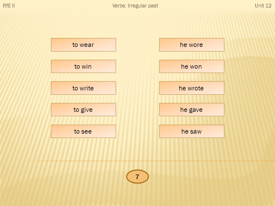 he … RfE IIUnit 12Verbs: Irregular past to wear to win to write to give to see he wore he won he wrote he gave he saw 7