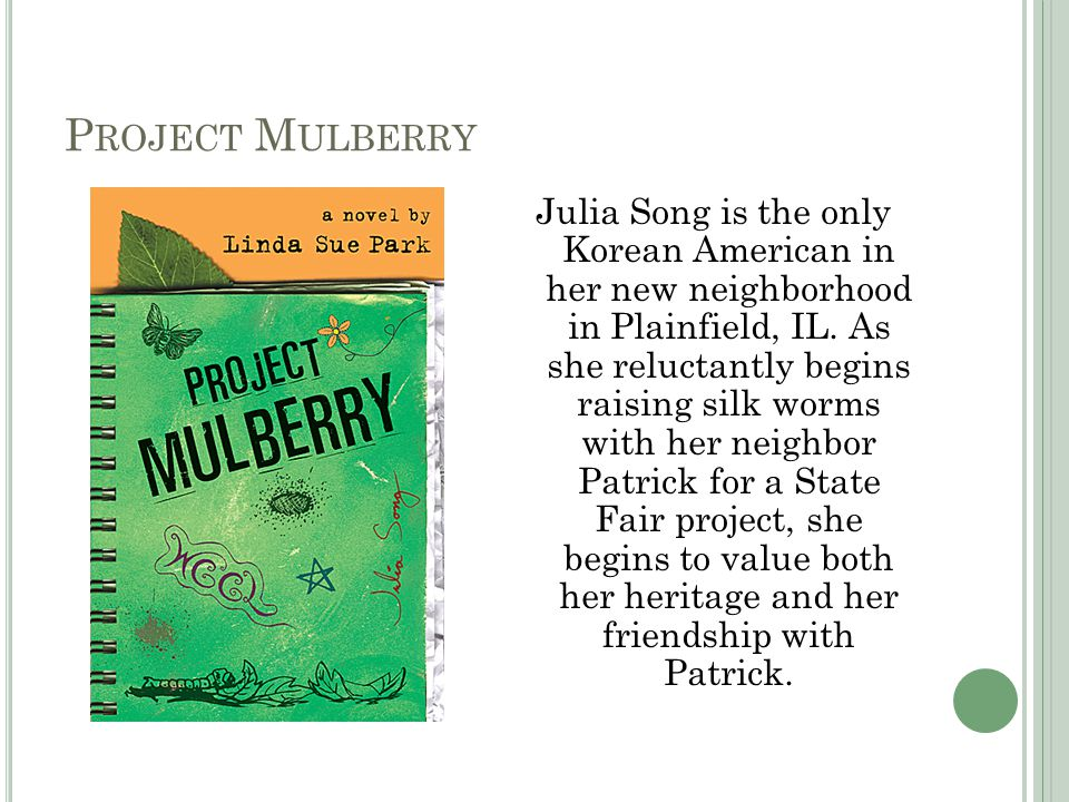 P ROJECT M ULBERRY Julia Song is the only Korean American in her new neighborhood in Plainfield, IL.