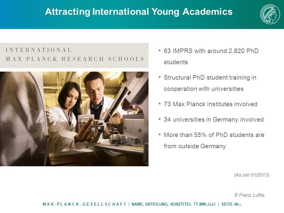 63 IMPRS with around 2,820 PhD students Structural PhD student training in cooperation with universities 73 Max Planck Institutes involved 34 universities in Germany involved More than 55% of PhD students are from outside Germany Attracting International Young Academics M A X - P L A N C K - G E S E L L S C H A F T | NAME, ABTEILUNG, KURZTITEL TT.MM.JJJJ | SEITE ‹Nr.› © Franz Luthe (As per 01/2013)