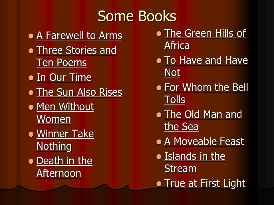 Some Books A Farewell to Arms A Farewell to Arms Three Stories and Ten Poems Three Stories and Ten Poems In Our Time In Our Time The Sun Also Rises Th