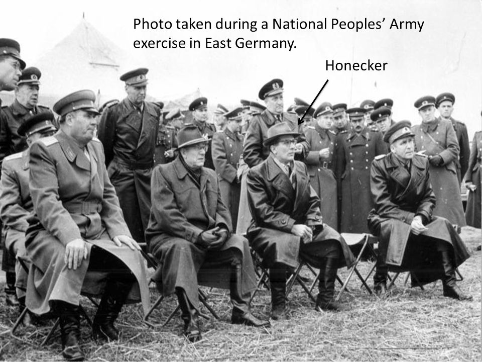 Photo taken during a National Peoples' Army exercise in East Germany. Honecker