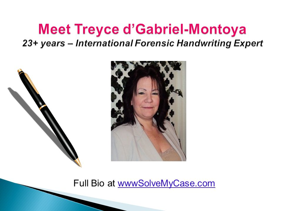23+ years, international law enforcement trainer & case consultant Helps Writers of Criminal Minds TV show Author: Answers , Written Violence , What's Going on Upstairs , Case Files & Several More Full Bio & Many References Online at www.SolveMyCase.com