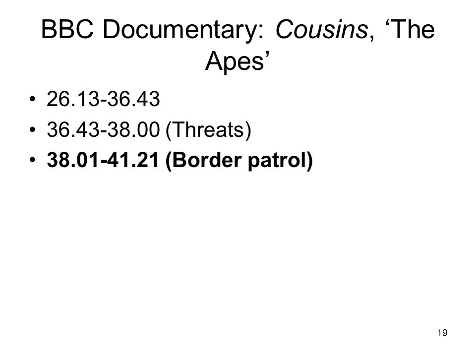 19 BBC Documentary: Cousins, 'The Apes' 26.13-36.43 36.43-38.00 (Threats) 38.01-41.21 (Border patrol)