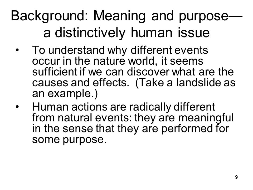 10 Background: Meaning and purpose— a distinctively human issue What a person's actions can mean in the course of a human life is not a straightforward matter.