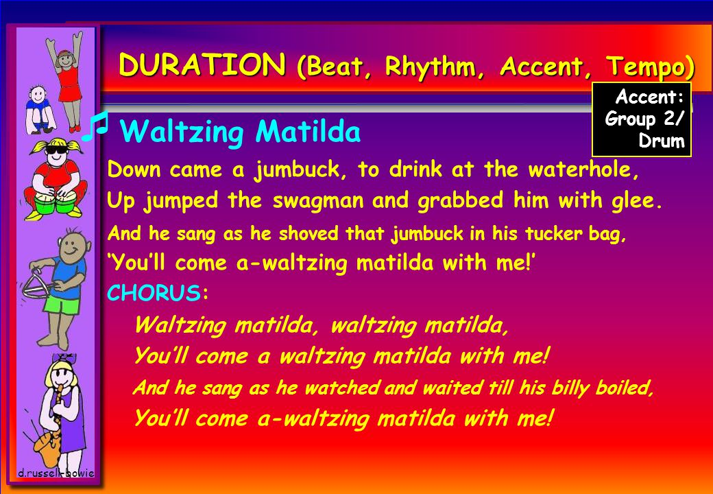 d.russell-bowie DURATION (Beat, Rhythm, Accent, Tempo)  Waltzing Matilda (MMADD CD) Once a jolly swagman camped by a billabong, Under the shade of a