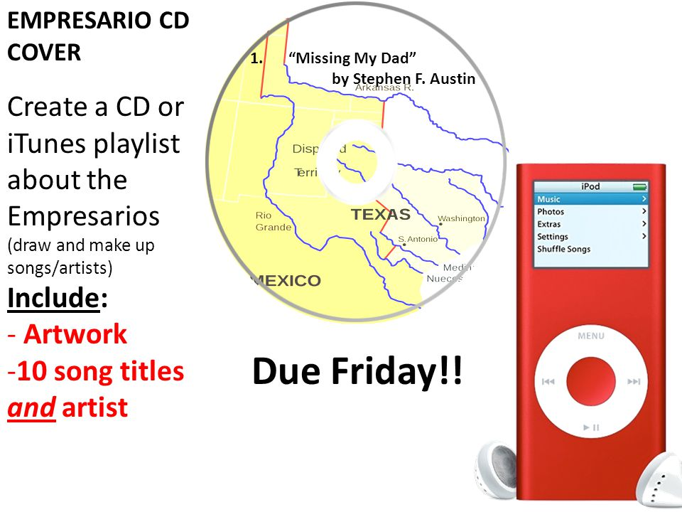 EMPRESARIO CD COVER Create a CD or iTunes playlist about the Empresarios (draw and make up songs/artists) Include: - Artwork -10 song titles and artist 1. Missing My Dad by Stephen F.