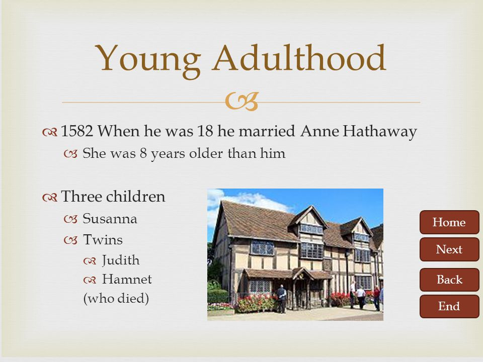 Home Next Back End   Parents: John Shakespeare and Mary Arden  Birthday celebrated April 23, 1564  Born in Stratford upon Avon,England  Attended the Stratford Grammar School  He learned Latin and Greek at school and was keen learner.