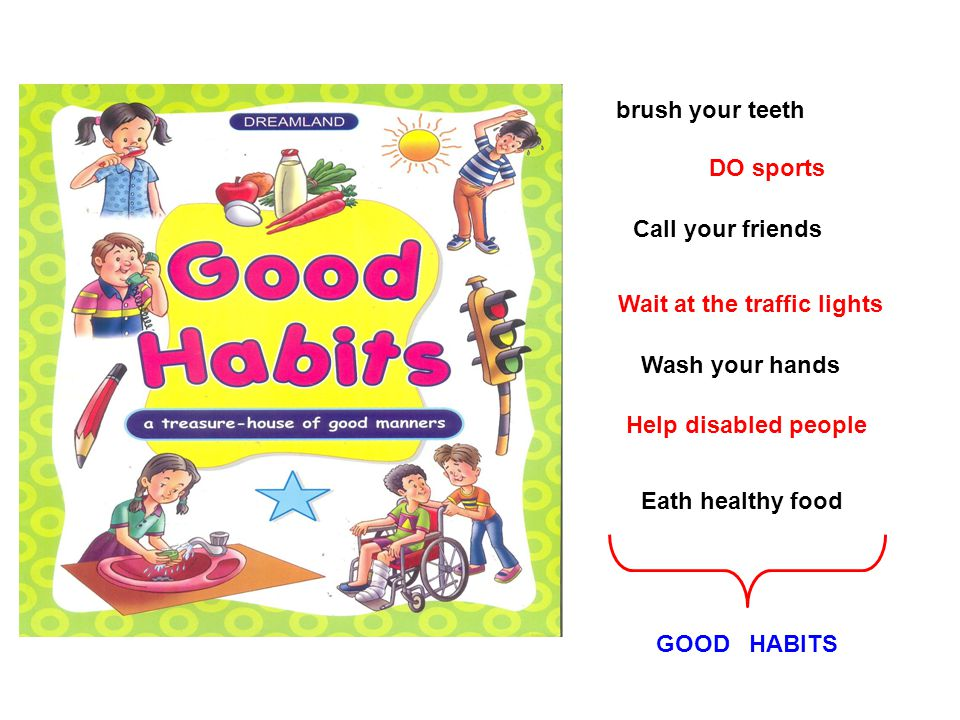 brush your teeth DO sports Call your friends Wait at the traffic lights Wash your hands Help disabled people Eath healthy food GOOD HABITS