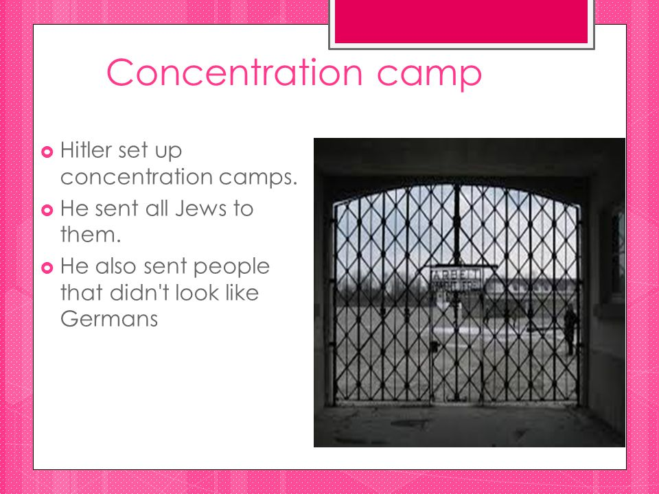 Concentration camp  Hitler set up concentration camps.