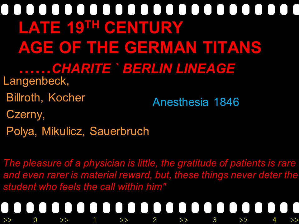 >>0 >>1 >> 2 >> 3 >> 4 >> LATE 19 TH CENTURY AGE OF THE GERMAN TITANS …… CHARITE ` BERLIN LINEAGE Langenbeck, Billroth, Kocher Czerny, Polya, Mikulicz