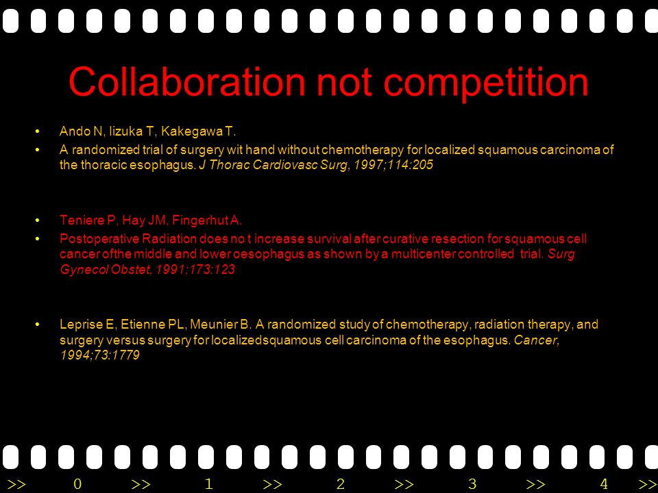 >>0 >>1 >> 2 >> 3 >> 4 >> Collaboration not competition Ando N, Iizuka T, Kakegawa T. A randomized trial of surgery wit hand without chemotherapy for