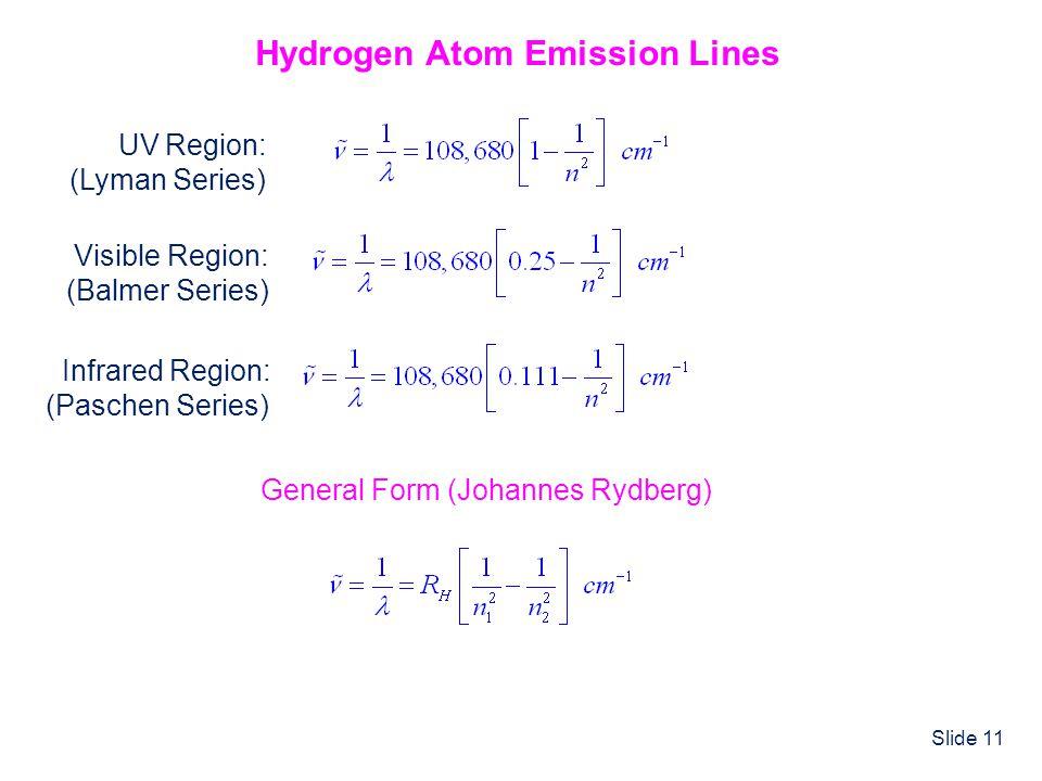 Slide 11 Hydrogen Atom Emission Lines Visible Region: (Balmer Series) n = 3, 4, 5,... UV Region: (Lyman Series) n = 2, 3, 4... Infrared Region: (Pasch