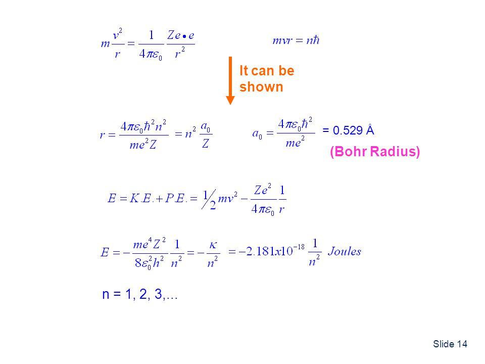 Slide 14 It can be shown = 0.529 Å (Bohr Radius) n = 1, 2, 3,...