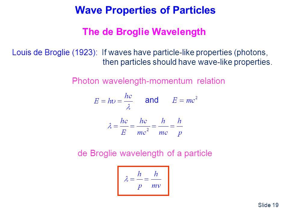Slide 19 Wave Properties of Particles The de Broglie Wavelength Louis de Broglie (1923): If waves have particle-like properties (photons, then particl