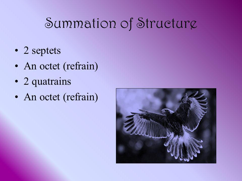 Summation of Structure 2 septets An octet (refrain) 2 quatrains An octet (refrain)