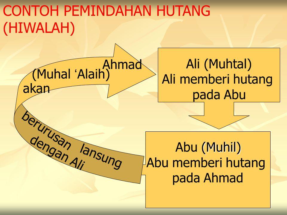 CONTOH PEMINDAHAN HUTANG (HIWALAH) Ali (Muhtal) Ali memberi hutang pada Abu (Muhil) Abu (Muhil) Abu memberi hutang pada Ahmad Ahmad (Muhal ' Alaih) ak