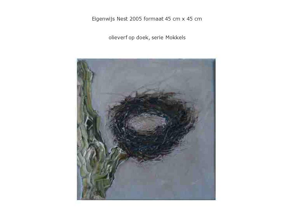 Eigenwijs Nest 2005 formaat 45 cm x 45 cm olieverf op doek, serie Mokkels