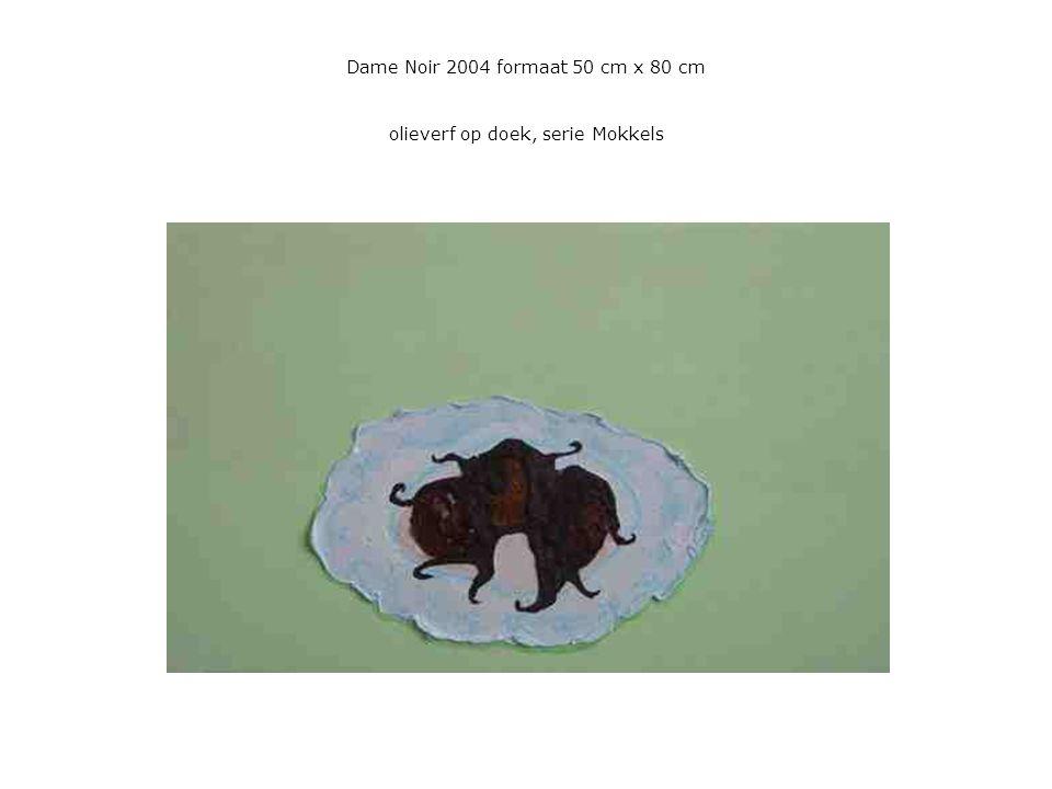 Dame Noir 2004 formaat 50 cm x 80 cm olieverf op doek, serie Mokkels