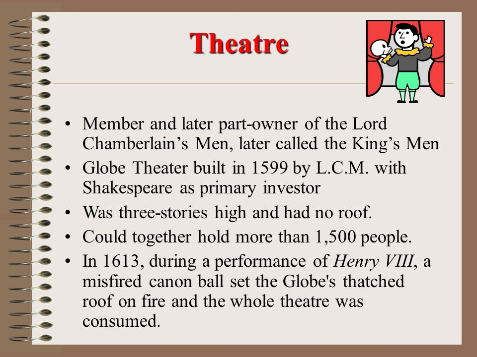 Theater Career Performed in courtyards of inns The Theater-first public theater- 1576 Daytime/open air Limited set design Relied on music, sound, cost