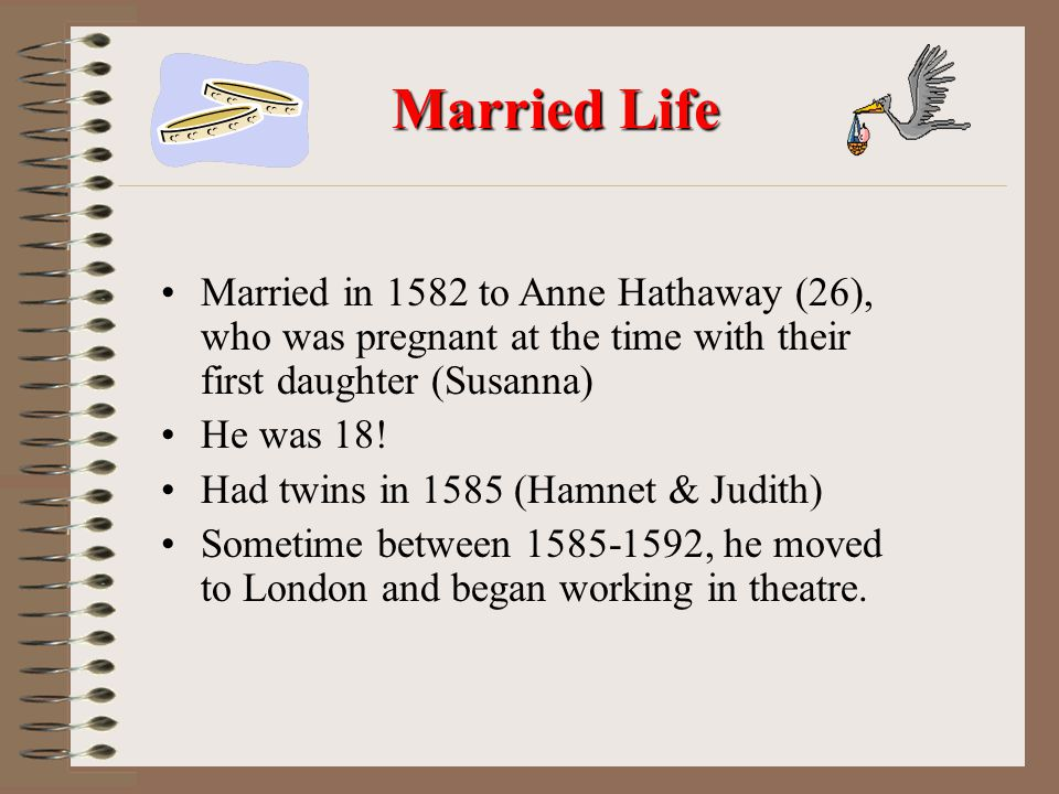 Married in 1582 to Anne Hathaway (26), who was pregnant at the time with their first daughter (Susanna) He was 18.