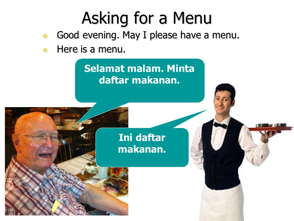 Asking for a Menu  Good evening. May I please have a menu.