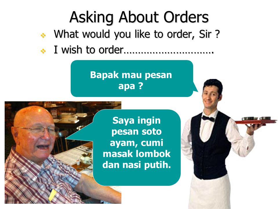 Asking About Orders  What would you like to order, Sir .