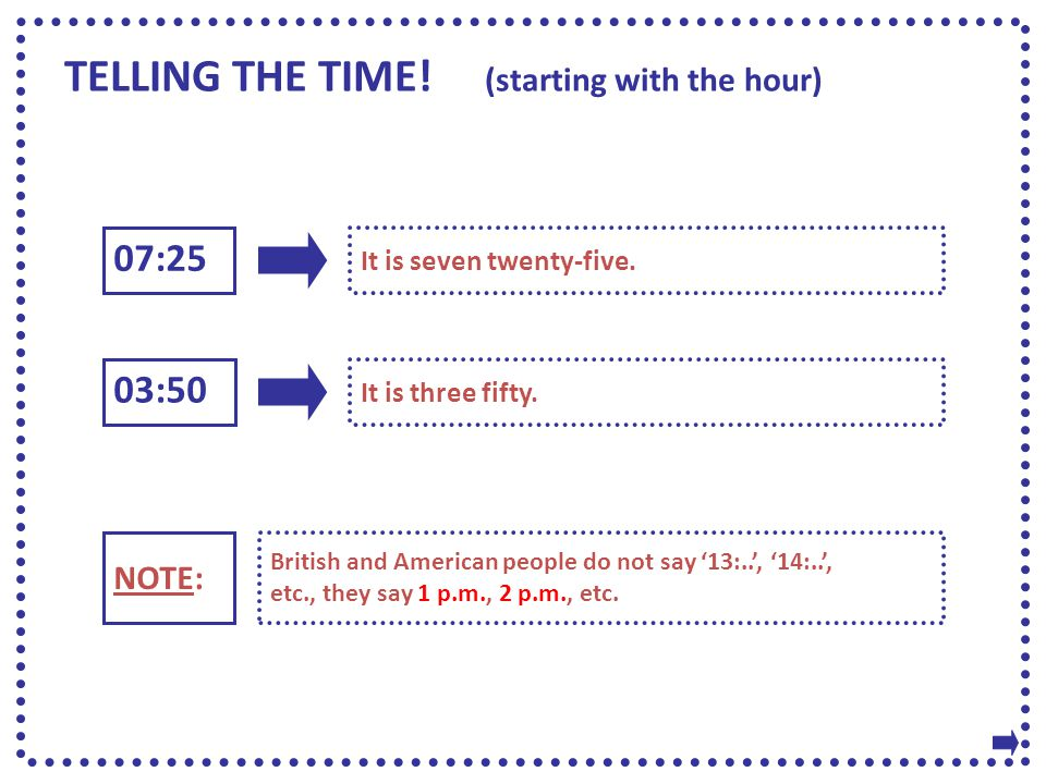 TELLING THE TIME! (starting with the hour) 07:25 03:50 It is seven twenty-five. It is three fifty. NOTE: British and American people do not say '13:..