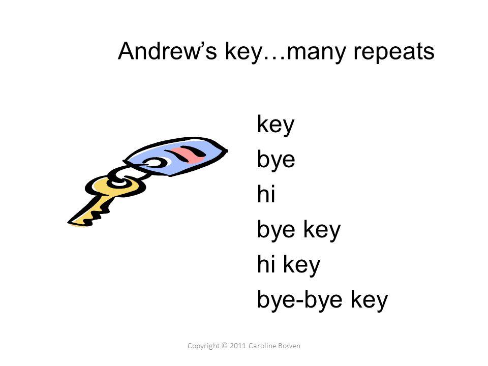 Andrew's key…many repeats key bye hi bye key hi key bye-bye key Copyright © 2011 Caroline Bowen