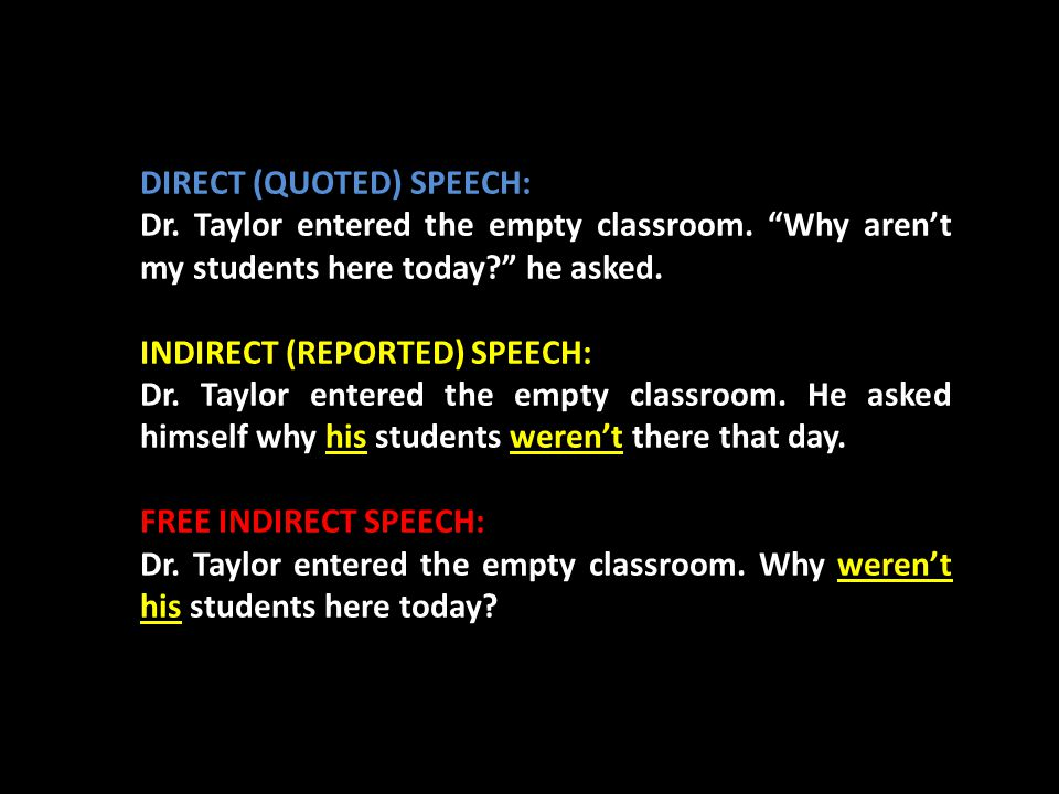 DIRECT (QUOTED) SPEECH: Dr. Taylor entered the empty classroom.