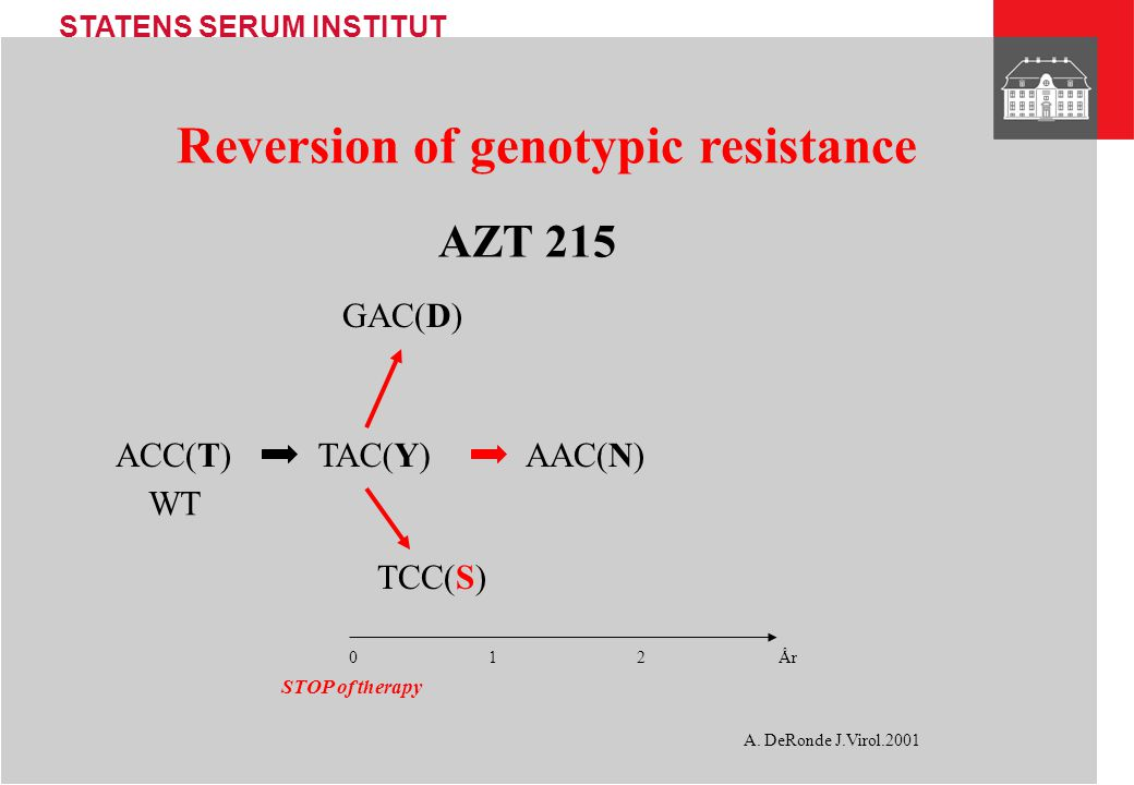 STATENS SERUM INSTITUT Reversion of genotypic resistance AZT 215 TAC(Y)ACC(T) WT A.