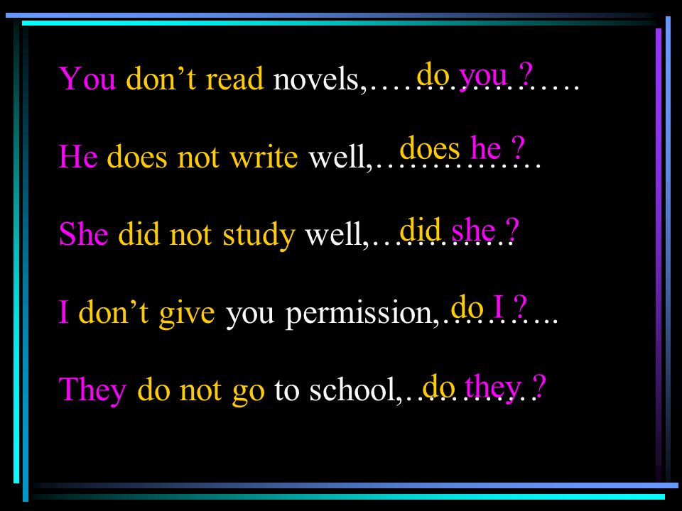You don't read novels,……………….He does not write well,…………… She did not study well,………….