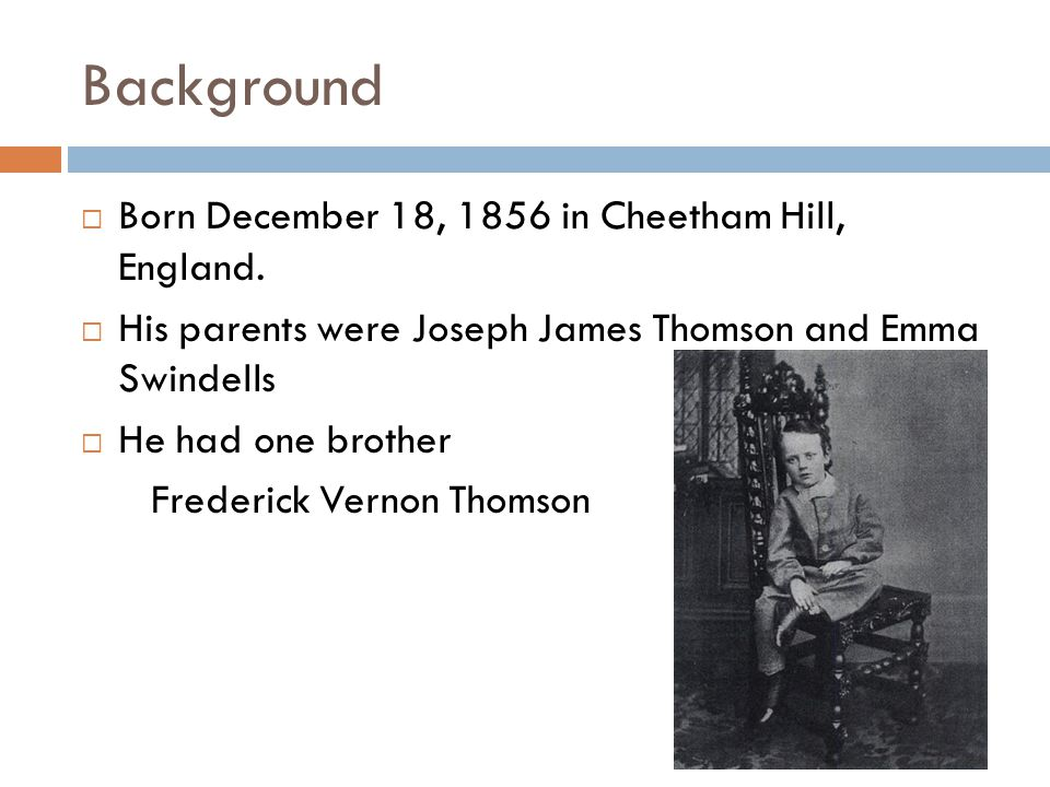 Background  Born December 18, 1856 in Cheetham Hill, England.