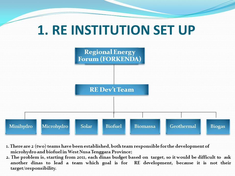 Regional Energy Forum (FORKENDA) RE Dev't Team Minihydro Microhydro Solar Biofuel Biomassa Geothermal Biogas 1. RE INSTITUTION SET UP 1. There are 2 (