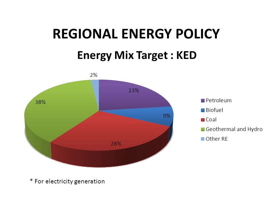 REGIONAL ENERGY POLICY * For electricity generation
