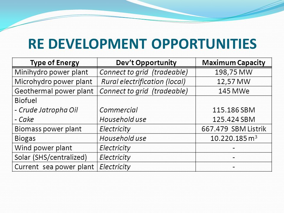 RE DEVELOPMENT OPPORTUNITIES Type of EnergyDev't OpportunityMaximum Capacity Minihydro power plantConnect to grid (tradeable)198,75 MW Microhydro power plant Rural electrification (local)12,57 MW Geothermal power plantConnect to grid (tradeable)145 MWe Biofuel - Crude Jatropha Oil - Cake Commercial Household use 115.186 SBM 125.424 SBM Biomass power plantElectricity667.479 SBM Listrik BiogasHousehold use10.220.185 m 3 Wind power plantElectricity- Solar (SHS/centralized)Electricity- Current sea power plantElectricity-