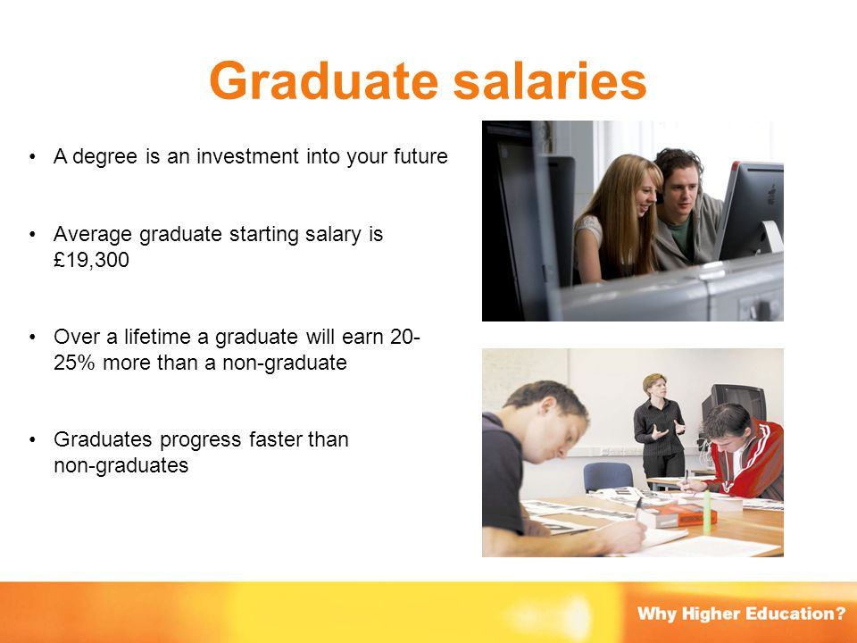 Graduate salaries A degree is an investment into your future Average graduate starting salary is £19,300 Over a lifetime a graduate will earn 20- 25%