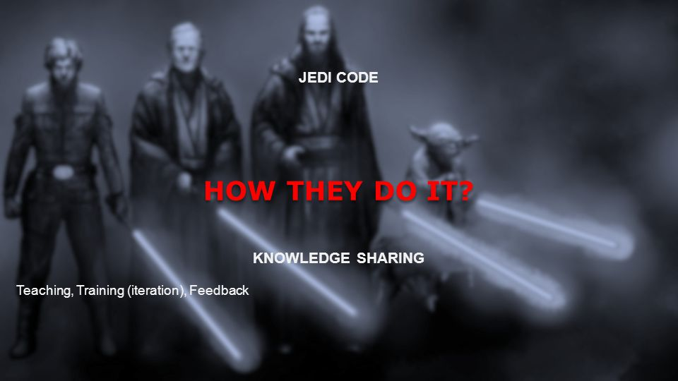 WHY THE JEDI CODE WAS CREATED NO PLANNING Tendency to create complexity, hacks, short term solutions SHORT TERM PLANNING Solving current problems, but causes problems later BAD HABBITS You know it s wrong but you do it anyway LACK OF KNOWLEDGE/EXPERIENCE Hard to predict bad scenarios LACK OF TESTING